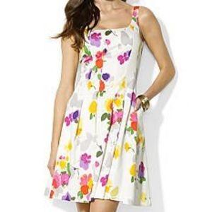 Lauren by Ralph Lauren White Floral Dress Size 4